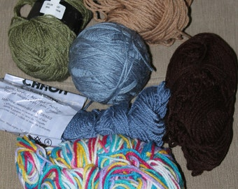 Unused Yarn, 6 Bunches in All, Green, Light Brown, Multi-colored, Blue, Dark Brown, and a Large Blue Ball, Very Soft and Easy to Work With