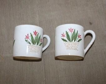 Vintage Italian Cantgalli Pottery Cantagalli Firenze Rooster Mark Italian Pottery, Cantagalli Coffee or Tea Cups, 2, Italy, Hand Painted,