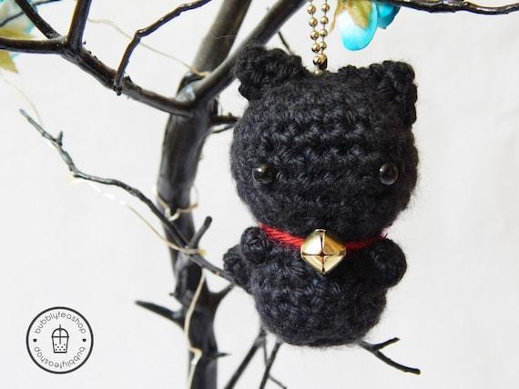Mini Black Cat Amigurumi Keychain Black Cat by BubblyTeaShop
