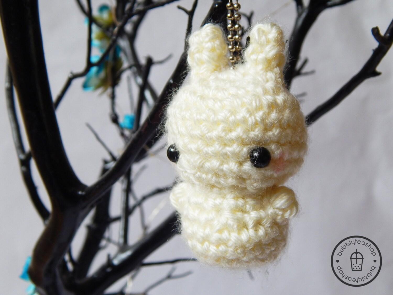 Amigurumi Bunny Keychain : Mini Bunny Amigurumi Keychain Little Bunny by BubblyTeaShop