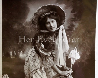 Little Bo Peep Hollywood Glamour // Antique RPPC Miss Phyllis Dare postcard // RPPC nursery rhyme postcard // Antique RPPC actress postcard
