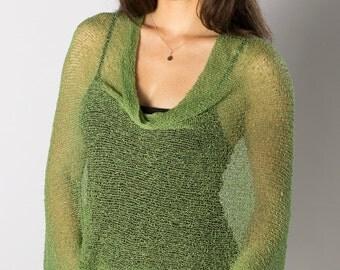 Green # 34 Infinity Bali Poncho, Women's lightweight Poncho, Poncho cover-up, Resort Wear Knit, Poncho Cape, Sheer Knit Mesh Poncho