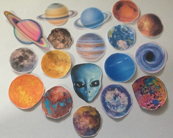 the solar system space and planets mega sticker pack