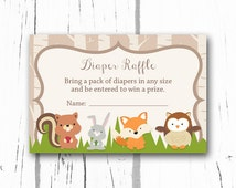 Woodland Baby Shower Diaper Raffle Tickets, Woodland Baby Shower Diaper Raffle Insert Card, Instant Download PDF Printable