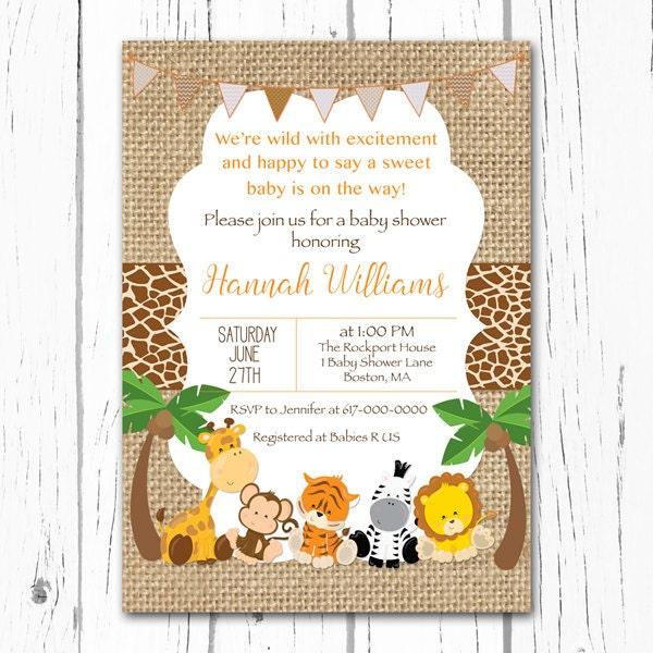 Safari Baby Shower Invitation: Safari Baby Shower Invitation Burlap Baby Animal Jungle Baby