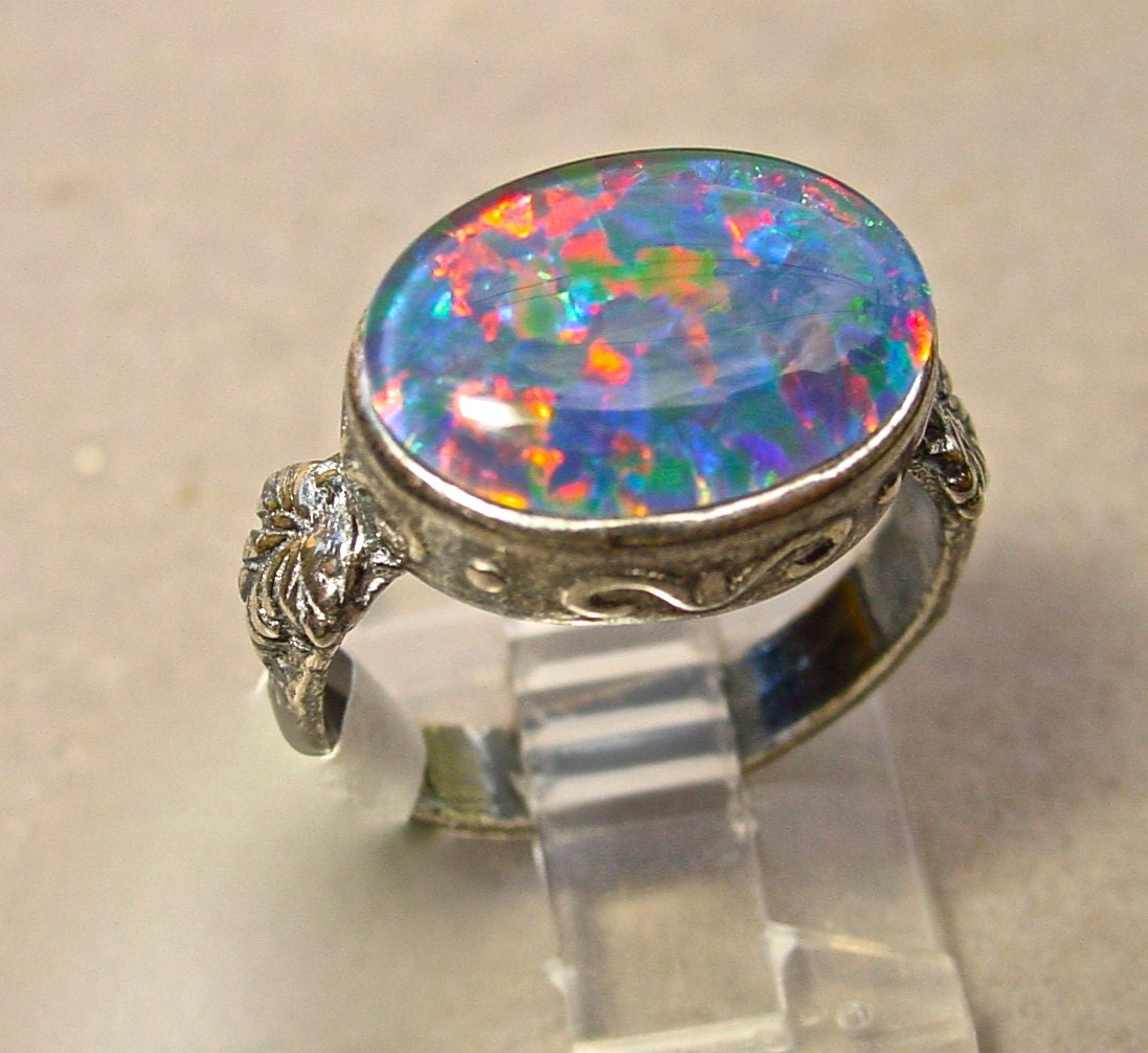 Opal Engagement Ring 14x10mm Opal Natural by AmyKJewels