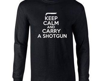 Keep Calm And Carry A Shotgun Mens Long Sleeve T-Shirt Carry a shotgun Gun Safety Tee- K23