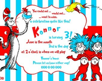 dr seuss invitation,Thing 1 Thing 2 invitation,cat in the hat invitation,dr seuss birthday party,thing 1 thing 2,baby shower invitation