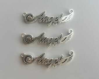 Angel Wing Charms Antique Silver Tone Angel Wing Connector Pendant for DIY Jewelry Accessories Bracelet Necklace Metal Charm 8*43mm 626