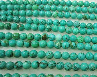 """Green Turquoise Beads Round Polished Bead 15"""" Full Strand Roundness Beads Grade AAA"""