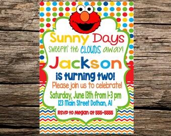 Elmo Birthday Invitation, Elmo Birthday, Elmo Invitation, Elmo Birthday Invitation, Sesame Street Elmo Invitation