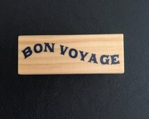 Rubber Stamp on Wood Block – Bon Voyage Rubber Stamp, Nautical, Travel Rubber Stamp, Scrapbooking, Card Making