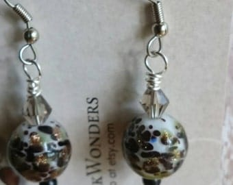 Black and gold blown glass earrings