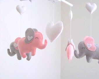 Elephant baby mobile, pink gray mobile, pink elephant mobile, gray elephant mobile, heart baby mobile, baby mobile