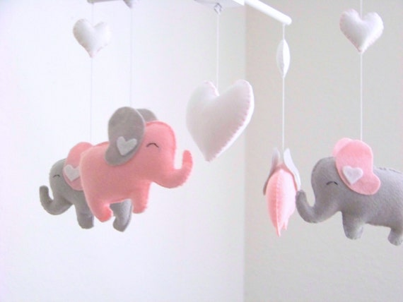 elephant baby mobile pink gray mobile pink elephant mobile