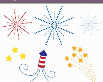 Fireworks Clipart Digital Art Set INSTANT DOWNLOAD Independence Day Clipart Fourth of July Clipart