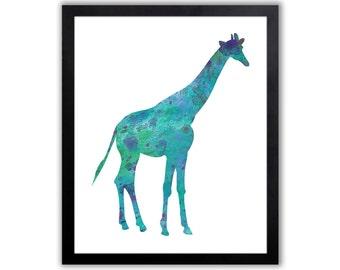 Giraffe Nursery Art - Girl Nursery Art - Giraffe Decor - Animal Art Print - GI001