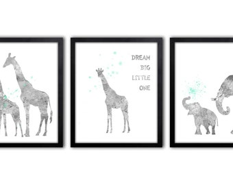 Elephant Nursery Art, Giraffe Nursery Decor, Baby Elephant Wall Art - AS42