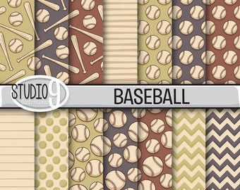 Baseball Digital Paper: VINTAGE BASEBALL Printable Pattern Print, Baseball Download, 12 x 12 Baseball Background Baseball Scrapbook