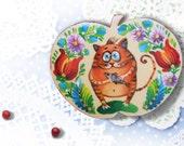 Handpainted wooden souvenir magnet cat  souvenir Fridge Magnet cat heart cat Original Painting kitchen decor cat Cat lover gift apple wooden