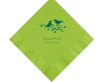 Lovebirds Wedding Napkins Personalized Set of 100 Napkins