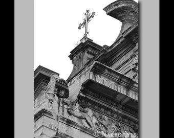 Italian church black and white photography. Digitally signed canvas. Large canvas art. Italy wall decor. Travel photography. Italian church.