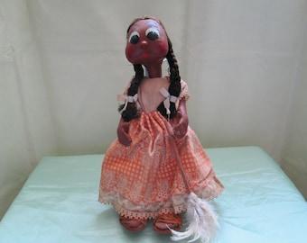 Primitive folk art doll from 1960's