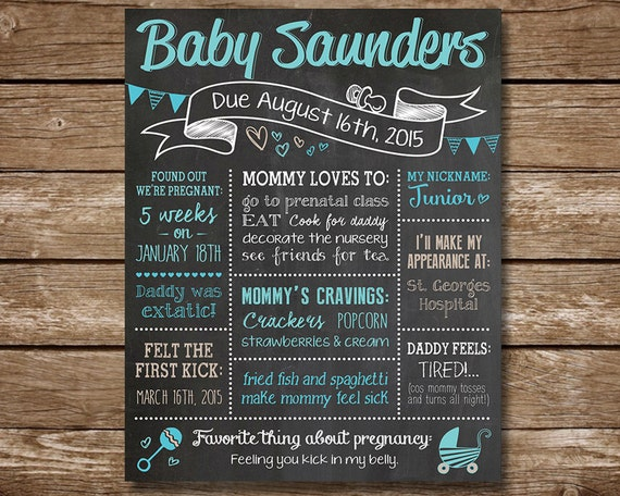 Custom Baby Shower Chalkboard Poster Sign Baby Boy Or Baby