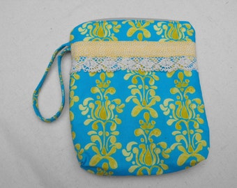 Lace trimmed Zippered Bag toiletries cosmetic wristlet bag