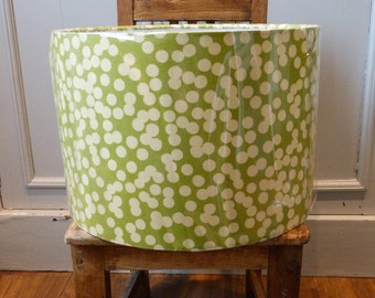 30cm Lampshade Hand Rolled in this Gorgeous Olive Green with Cream Spot Cotton Fabric. Modern shape, colour and desgn.