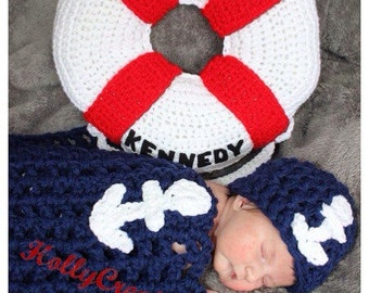Crocheted Marine 0-3 Month Photo Prop - Mini Blanket, Beanie and Personalized Life Preserver. Nautical Photo Prop