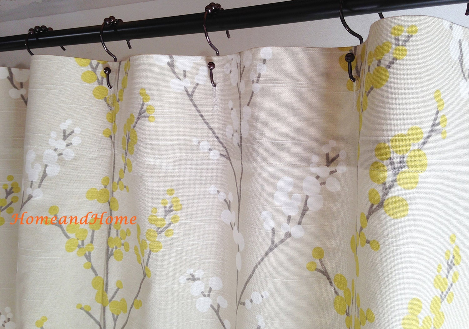 Custom Fabric Shower Curtain Evelynne Slub Lemongrass Ivory