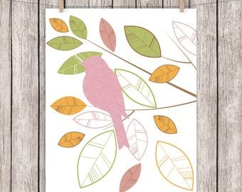 Nursery Printable Art Bird Branch Leaves Nursery Baby Girl Print Green Pink Orange 8x10 Instant Download Digital File