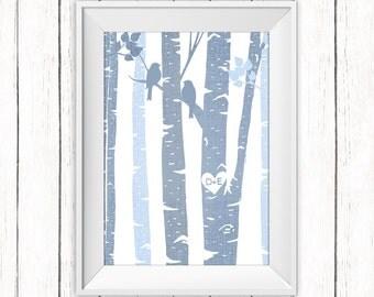 Custom Birch Trees Printable Personalized Initials Anniversary Wedding Digital Print Choose Size & Color