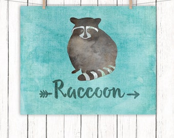 Woodland Animal Nursery Printable Art Raccoon Nursery Art Print Blue Wall Art, 8 x 10 Instant Download