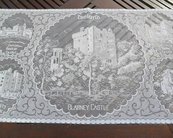 "Blarney Castle, Ireland, Lace Panel Souvenir of ""The Castles of Ireland"" 17""x 29""(43x73cm) approx. Ireland in Lace"