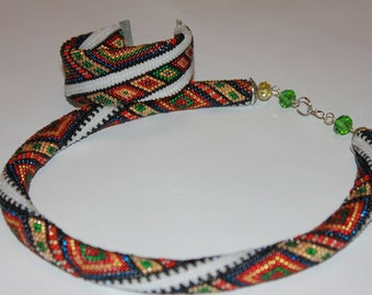 Beaded crochet necklace Bukovyna -ethnic necklace Geometric necklace Colorful Necklace