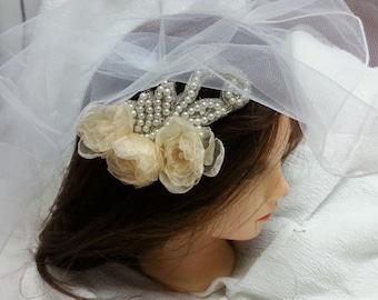 Delicate Flower Wedding comb, peach blossom, Wedding Hair Comb, Bridal Hair Accessories. Bridal headdress.