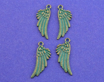 4pcs-Angel Bird Wing Charm, 18x10mm Double Sided Wing Pendant, Verdigris Green Wing, Feather Charm