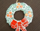 Christmas Wreath Ornament, Mosaic Christmas Ornament, Christmas Tree Ornament, Christmas decoration, teacher's gift, Unique Hostess gift,