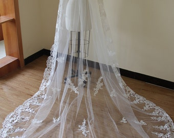 Bridal Lace Veil, Cathedral Lace Veil, Wedding Accessory made of Venice Lace Flower along full edge.