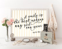 Printable art Marilyn Monroe quote A smile is the best makeup any girl can wear Gold Dental office decor Gold nursery quote for girl Dentist