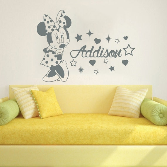 Wall Decal Name Vinyl Sticker Decals Minnie Mouse Home Decor Design ...