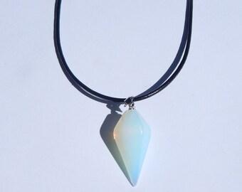 Crystal Pendulum Necklace, Crystal Choker, Crystal Pendulum, Crystal Pendant Necklace, Pendulum Necklace, Crystal Pendant, Opalite Pendulum