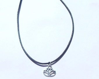 Lotus Choker, Lotus Flower Choker, Choker Necklace, Lotus Necklace, Flower Choker, Lotus Charm, Buddhist Choker, Silver Lotus Choker