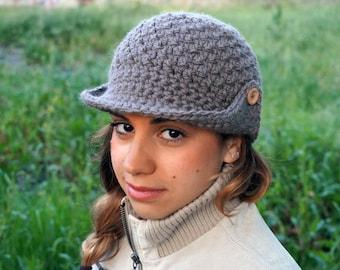 Hat with brim, womens newsboy hat, brimmed beanie, crochet hat MP014