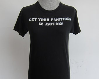 Vintage Billy Squier 83 Tour - Get Your Emotions In Motion Black T-shirt
