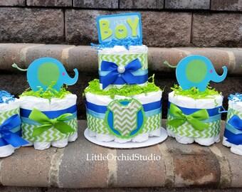Blue Green Chevron Safari Diaper Cake/ Elephant diaper cake/ Safari Baby Shower/ Boy Safari/ Baby Shower Centerpiece/Mommy to be