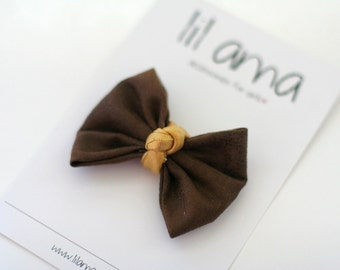 Brown Hair Bow Clip - Little Girls Hair Bow - Toddler Hair Accessories - Hair Clips - Baby Bow - Hairbow Clip