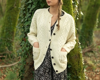 Traditonal Irish Aran Hand Knitted Lumber Jacket Cardigan Made from Merino Wool